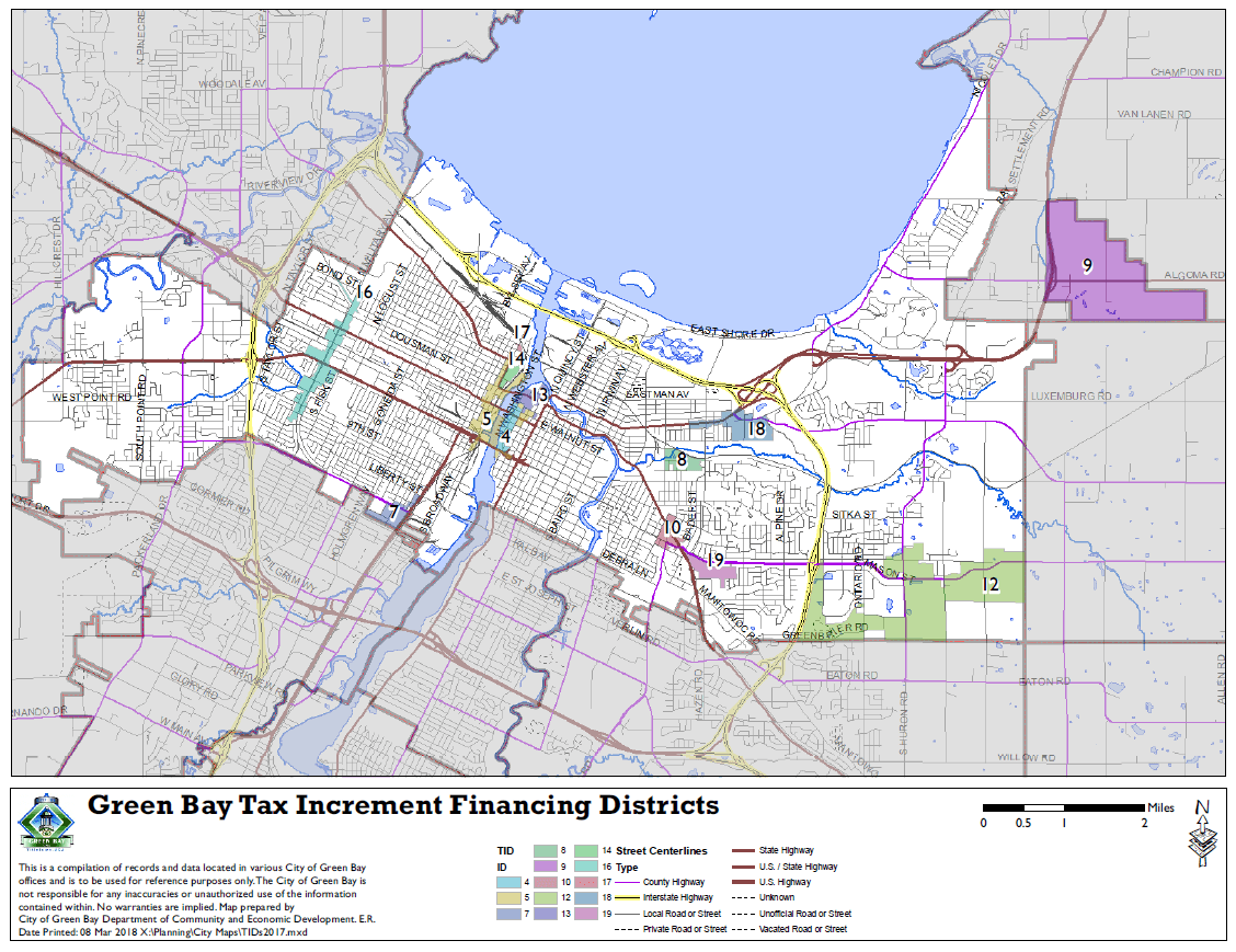 Tax Increment District Map from 2018